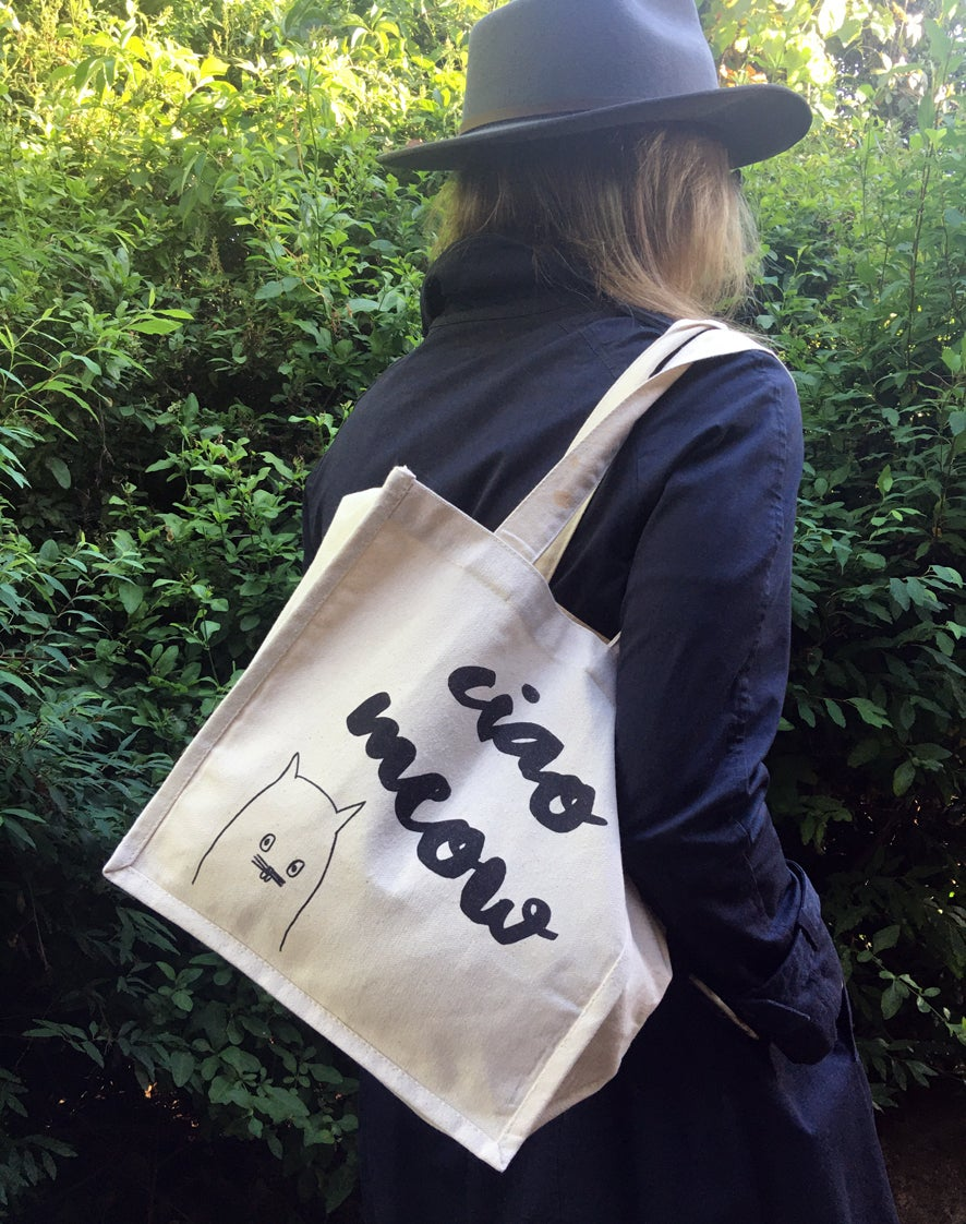 Image of 'Ciao Meow' organic canvas bag
