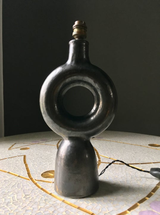 Image of  Ceramic Lamp Base in the Manner of Jouve, Mid-Century Modern France