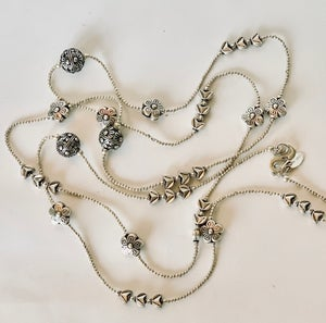 """Image of all silver delicate charms, 44"""" length anpn144"""