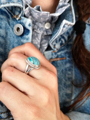 Image of Bague pierre azurite - taille 59,5 - ref. #4636.