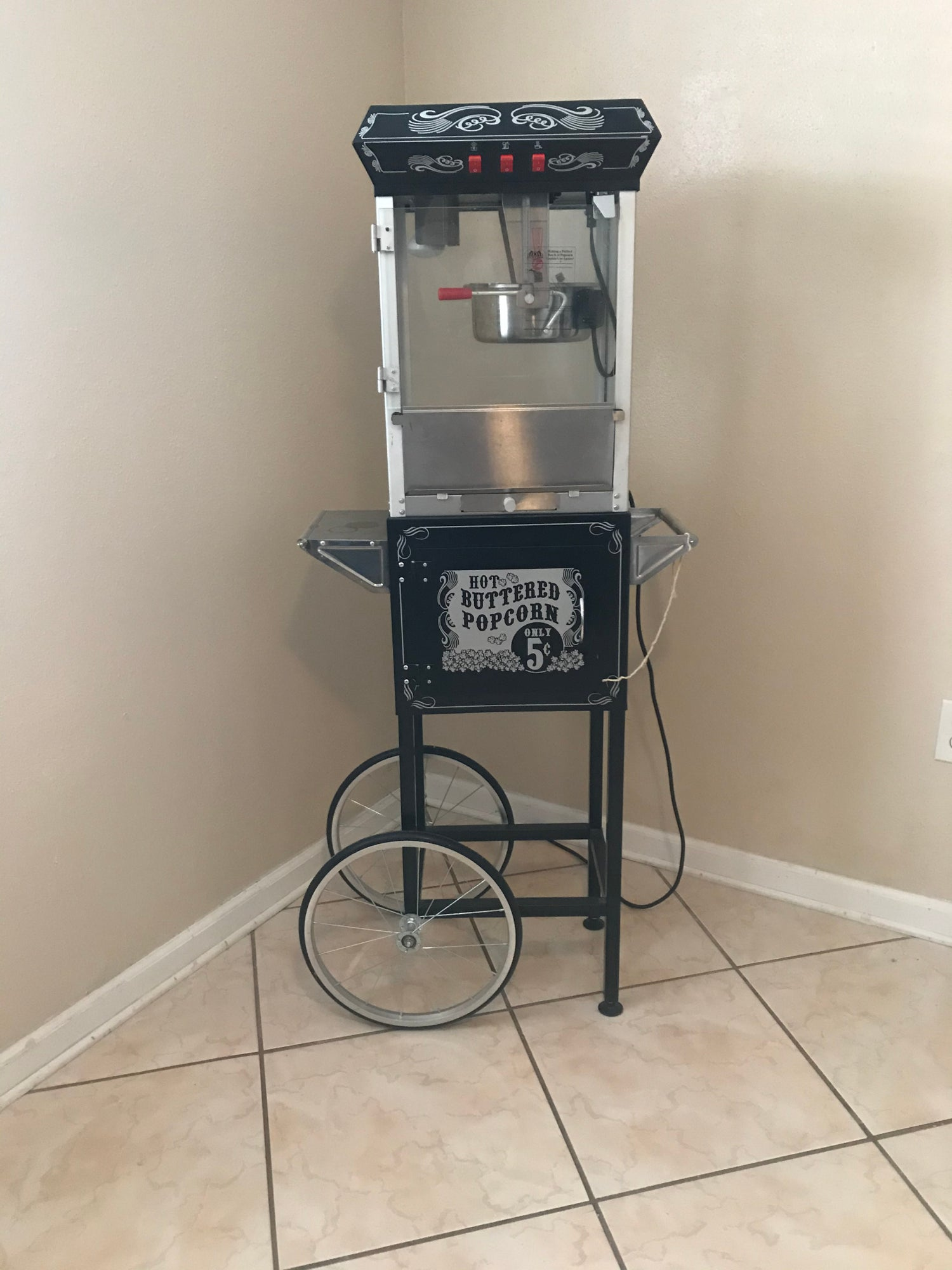 Black 4 ounce POPCORN MACHINE
