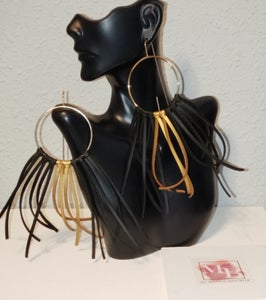 Image of Black and Gold Lela Fringe Earrings