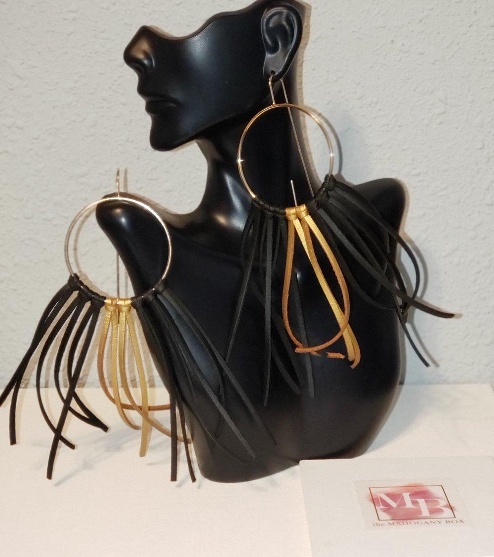 Black and Gold Lela Fringe Earrings