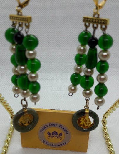 Image of Green and White Zen Earrings