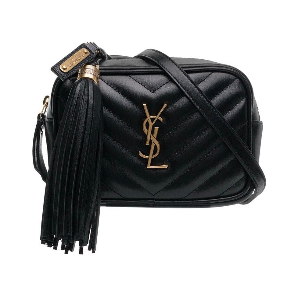 Image of Saint Laurent Belt Lou Black Leather Cross Body Bag