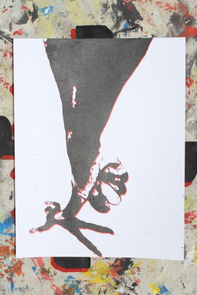 "Image of ""apply pressure"" 2 color silkscreen print on paper"