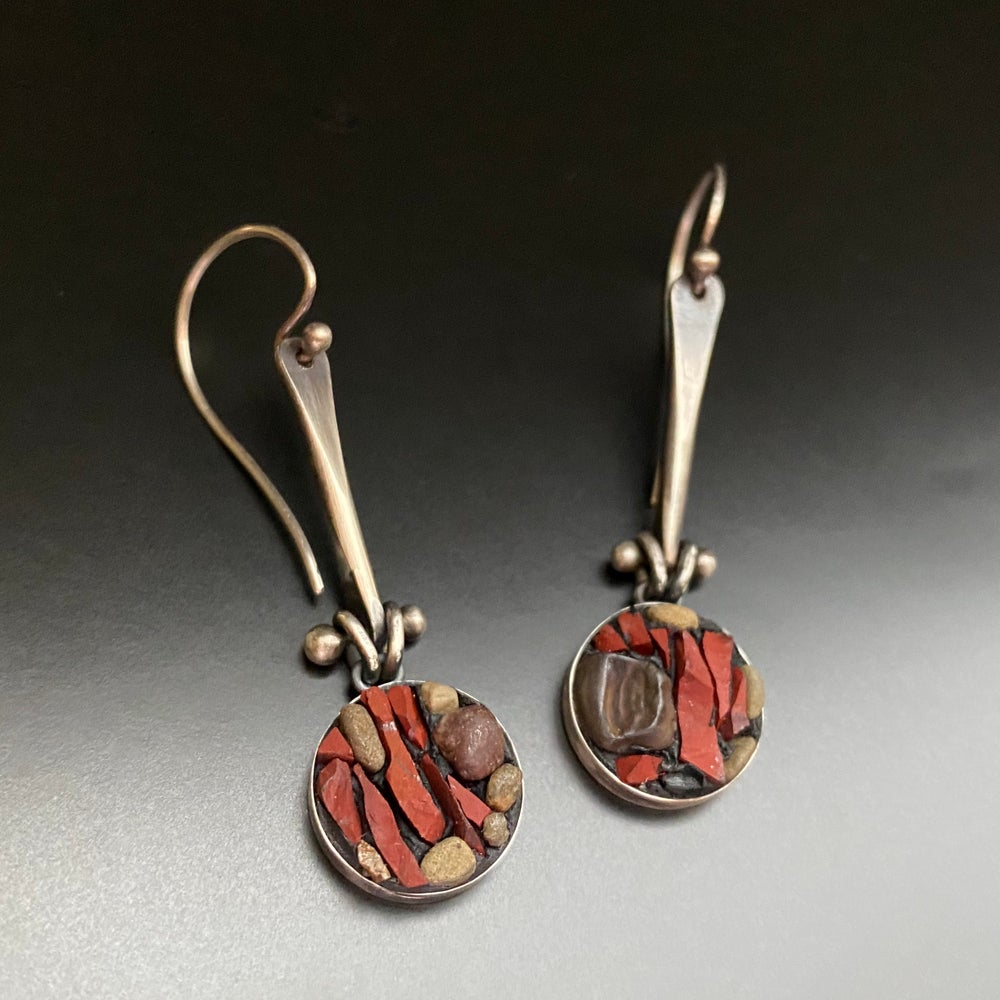Image of Red Jasper/Sterling Micro Mosaic Swingy Bezels