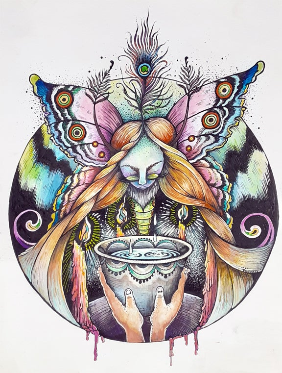 Image of The Moth Queen's Cup Original Watercolor