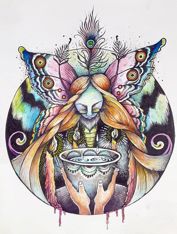 Image of The Moth Queen's Cup Original Watercolor
