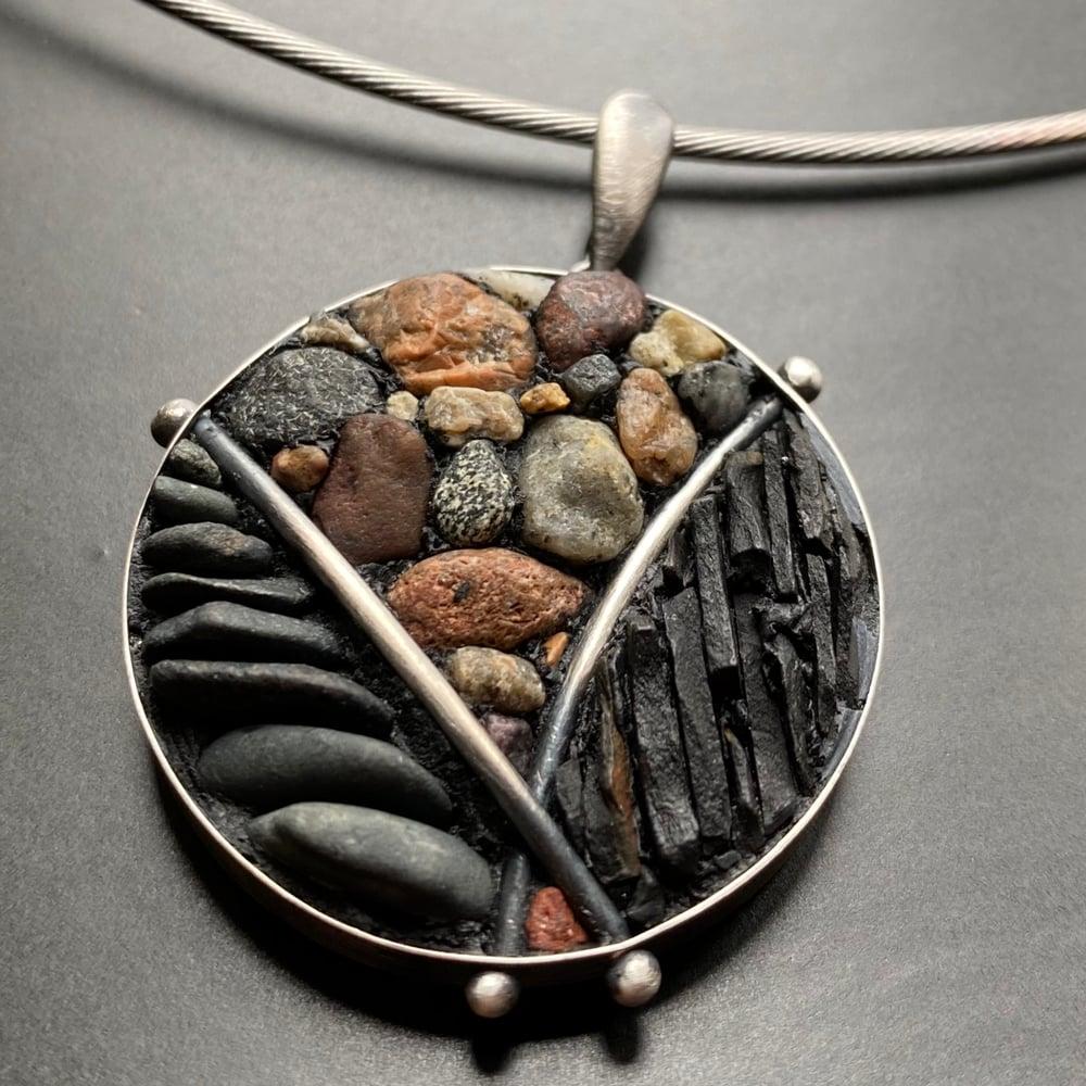 Image of Gloucester Beach Rock/PA Shale Micro Mosaic Pendant