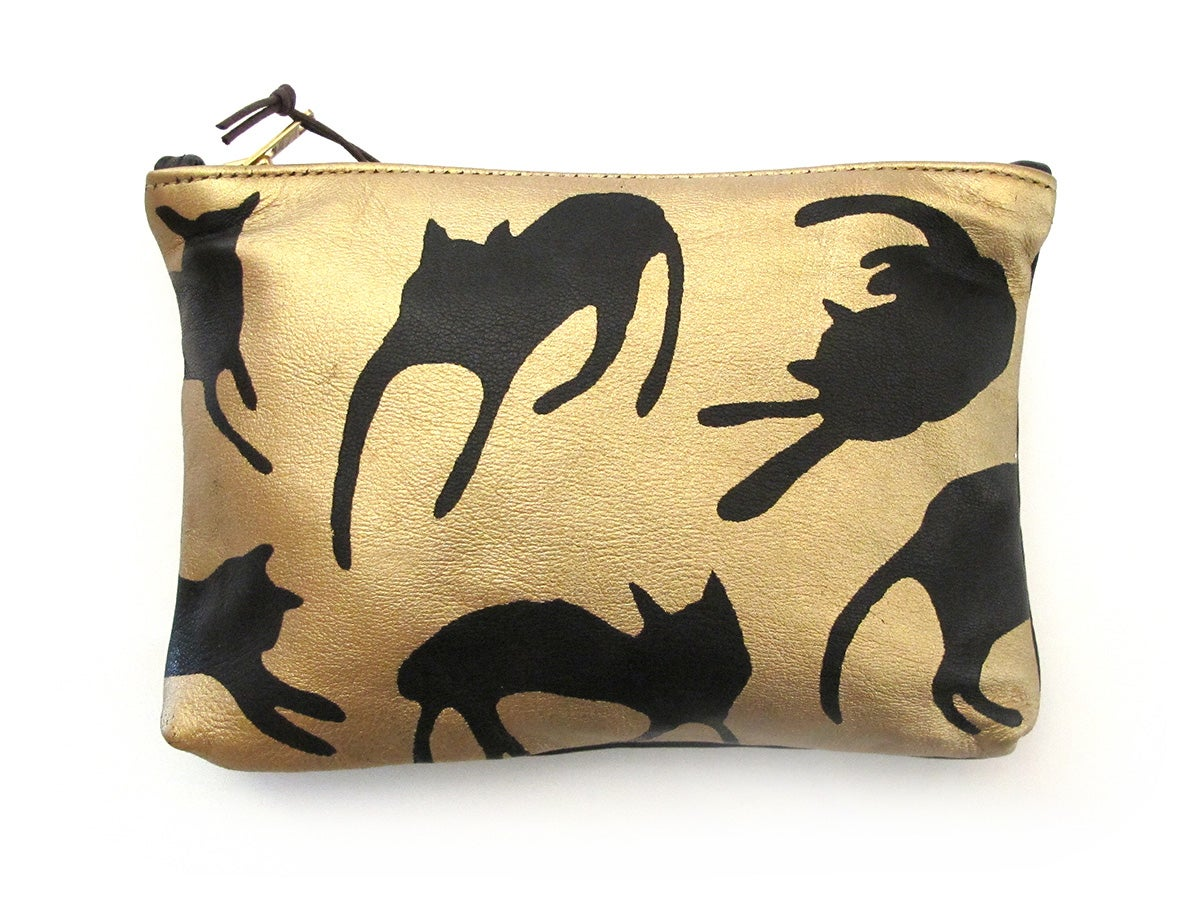 Image of Leather Gold Cats Purses