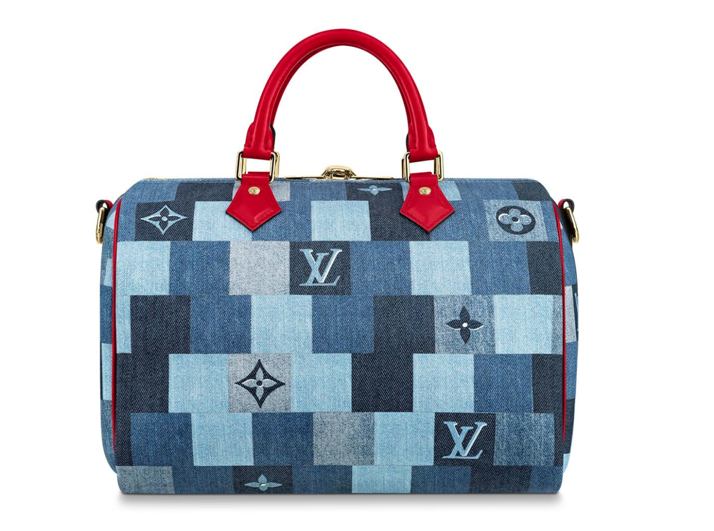 Image of Louis Vuitton Speedy Bandouliere 30 Blue Denim Monogram Satchel