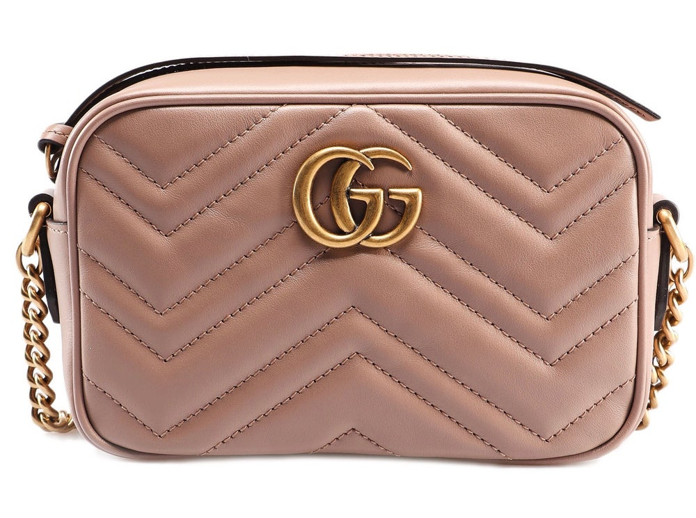 Image of Gucci Marmont Gg Matelasse Mini Dusty Pink Leather Cross Body Bag