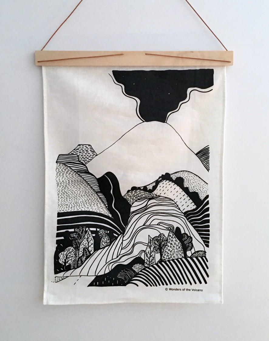 Image of 'Wonders of the Volcano' artwork tea towel