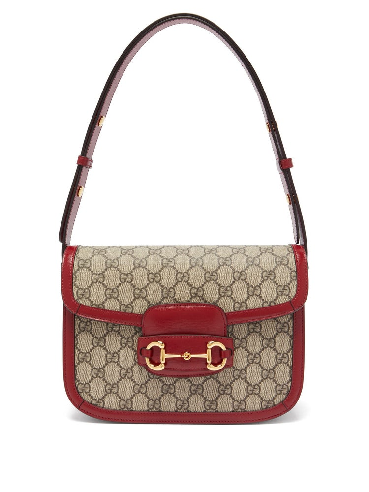 Image of Gucci Shoulder Horsebit 1955 Printed Coated Beige/Ebony/Red Cross Body Bag