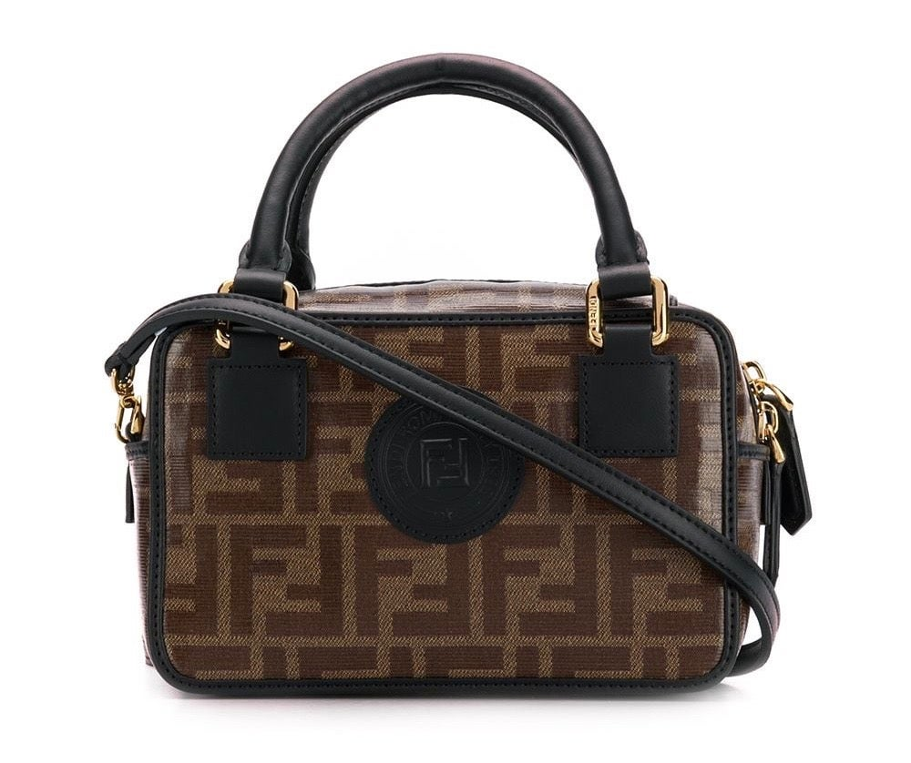 Image of Fendi Mini Boston Ff Brown Calfskin Leather Cross Body Bag