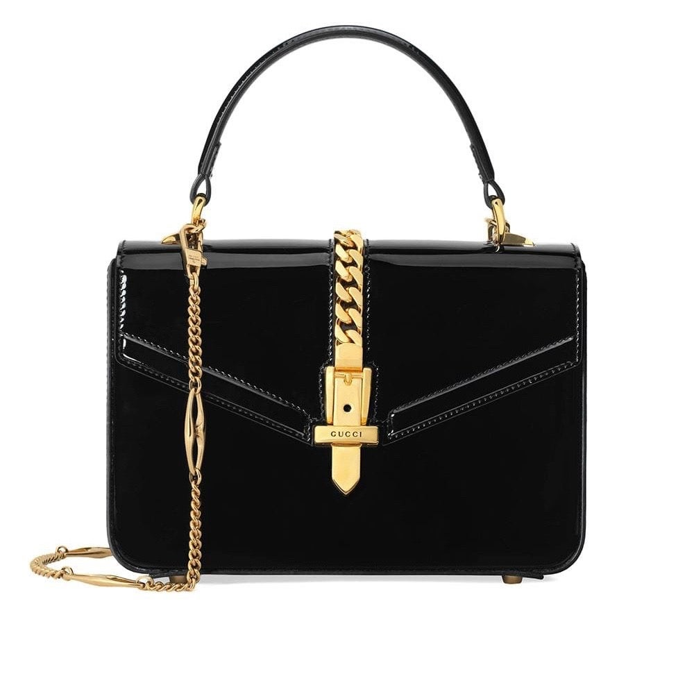 Image of Gucci Sylvie Mini 1969 Black Patent Cross Body Bag