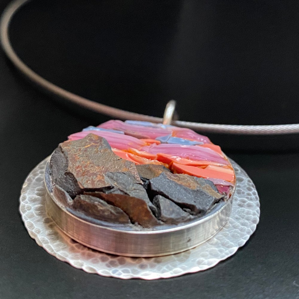 Image of Pink Sky With Mountains, Micro Mosaic Pendant