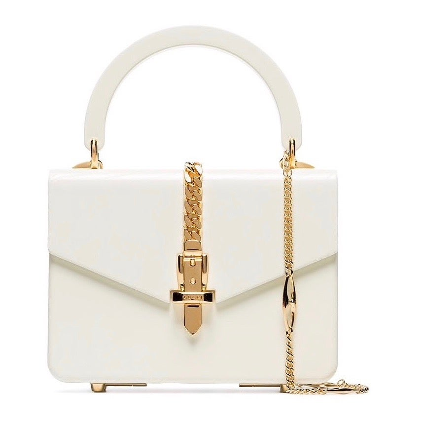 "Image of Gucci Sylvie Mini 1969 White Plexiglas Cross Body Bag 7.9""L x 6.1""W x 2.2""H"