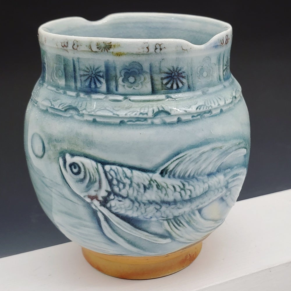 Image of Carved Beta Fish Woodfired Vessel