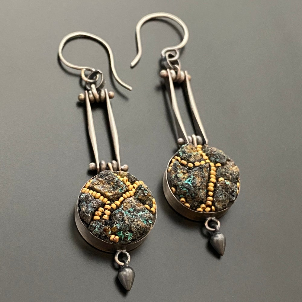 Image of Golden Trail Micro Mosaic Earrings