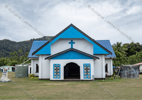 Image of T17 Blue and white church Fiji