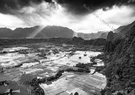Image of T13 Black and white Cambodian scene