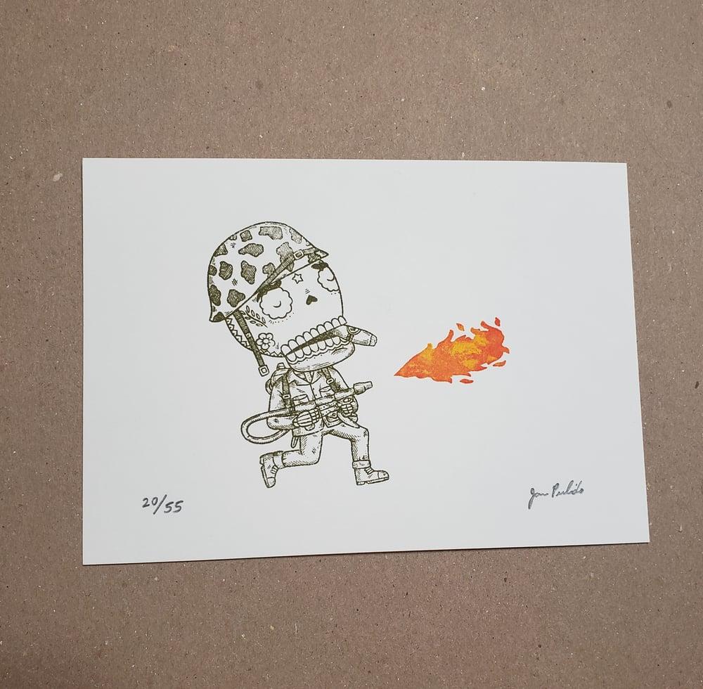 Flamethrower Calavera Limited Edition Gocco Screenprint