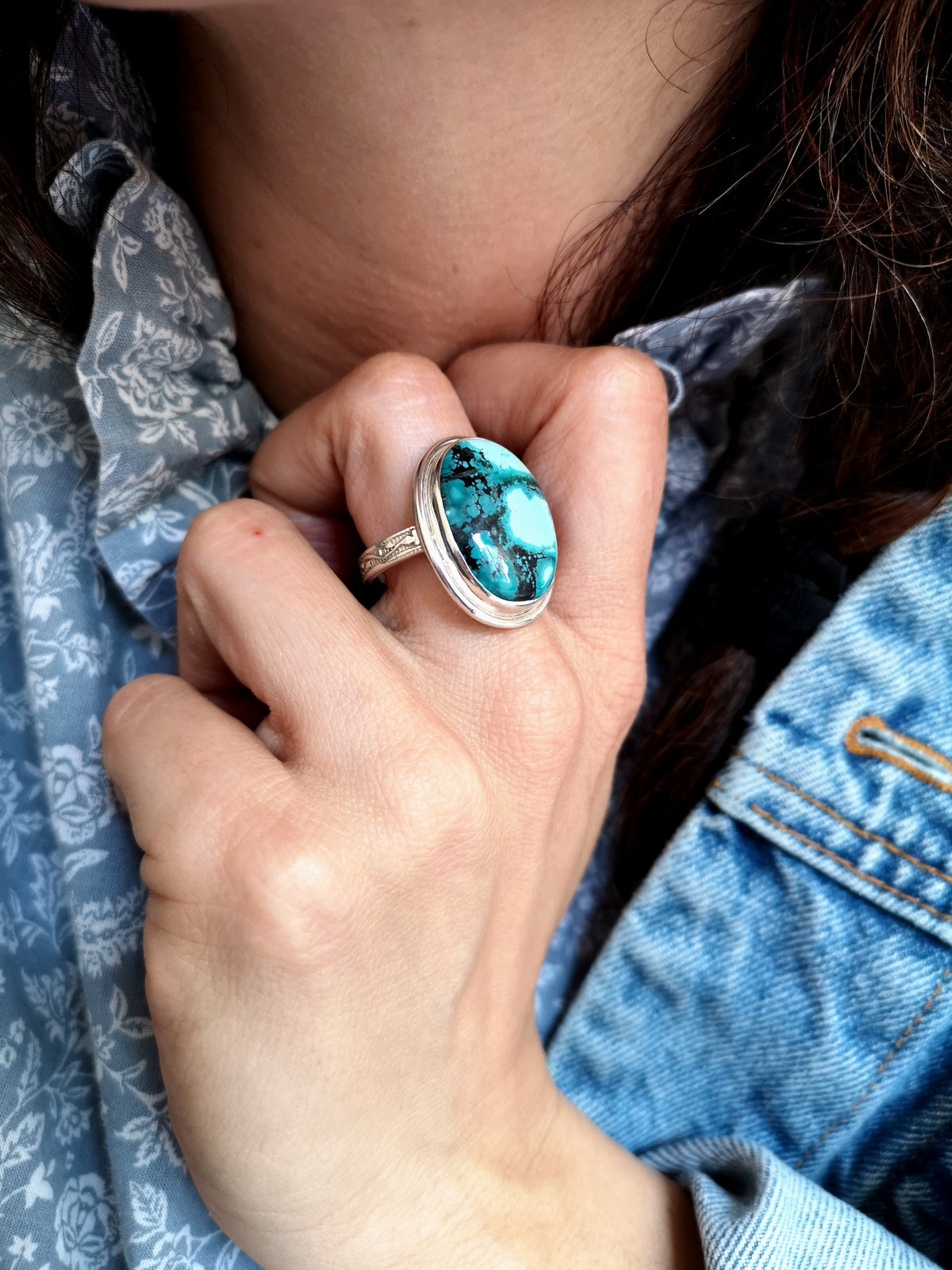Image of Bague Turquoise du Tibet - taille 59 - Ref. #4812