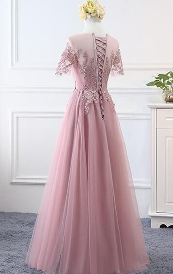 Pink Tulle Long Simple A-line Bridesmaid Dress, Lovely Party Dress
