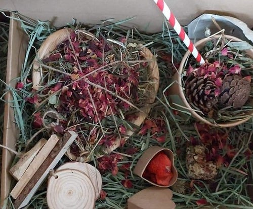 Image of Palm leaf bowl filled with Dried delights forage