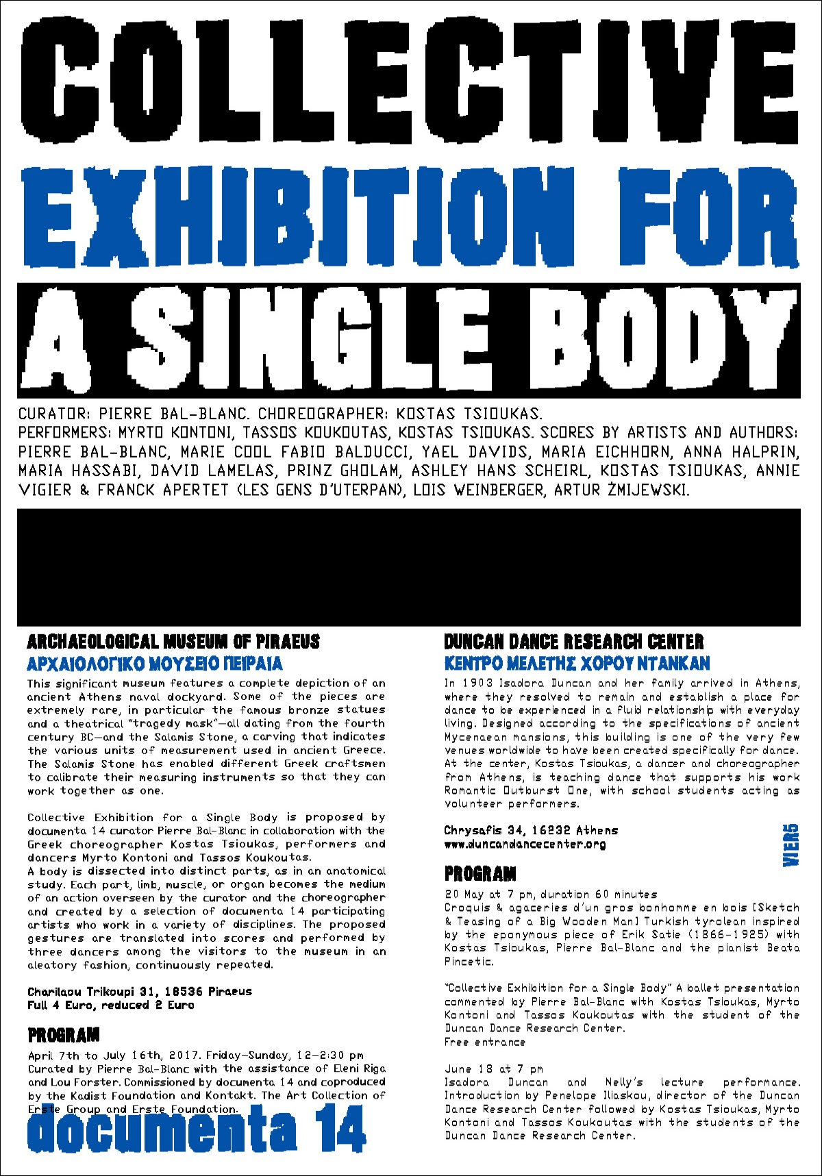 """COLLECTIVE EXHIBITION <br>FOR A SINGLE BODY"""