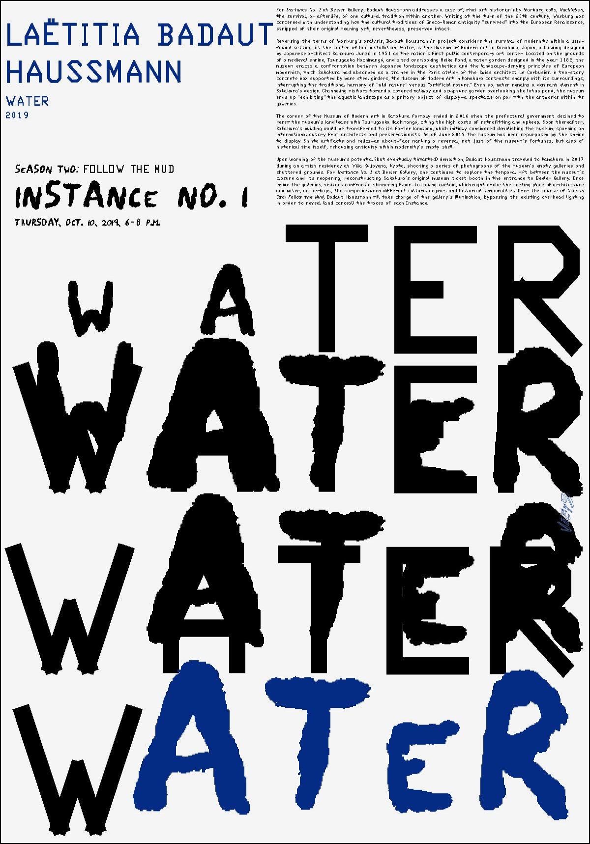"""LAËTITIA BADAUT <br>HAUSSMANN, """"WATER"""""""