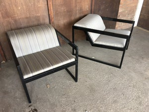 Pair of 1980's metal lounge armchairs