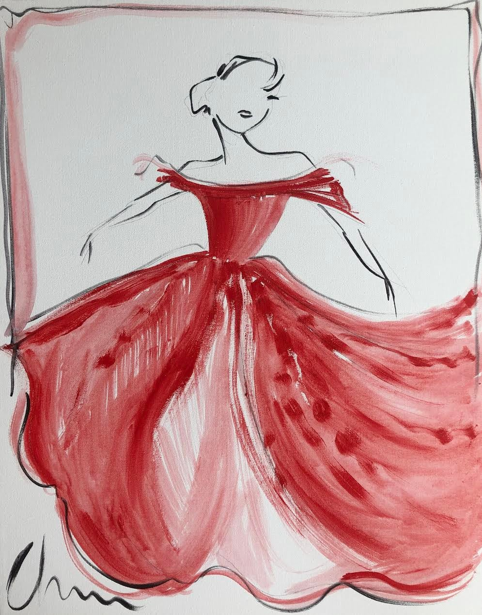"""Image of """"Red Off Shoulder Ball Gown"""" - Original Painting"""