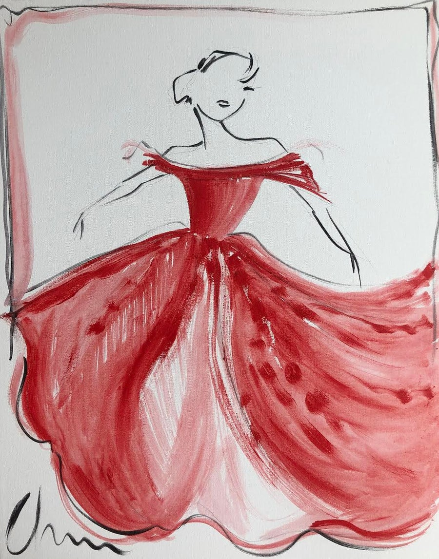 "Image of ""Red Off Shoulder Ball Gown"" - Original Painting"