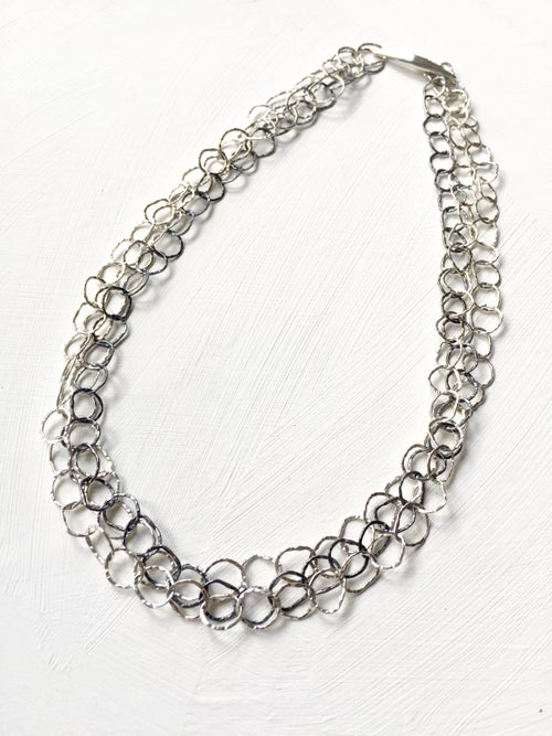 Image of Afiok necklace treble lenght sterling/oxidised silver