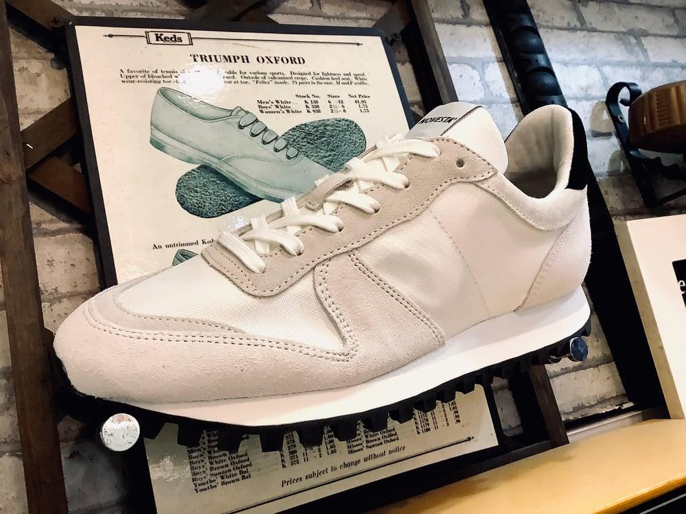 Image of Novesta marathon trail white runner sneaker shoes made in Slovakia