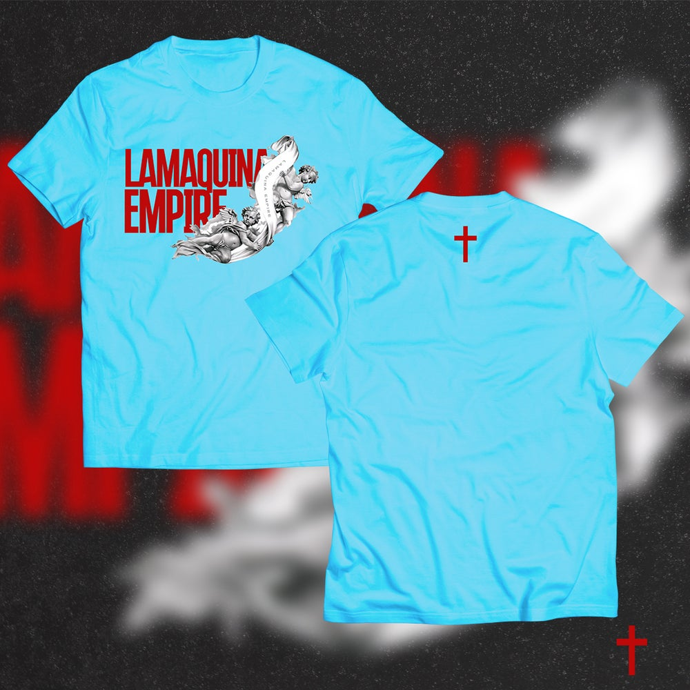 "Image of Limited Edition ""LaMaquina Angel"" Oiler Blue T-Shirt"