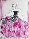 """""""Large Black Rose Ball Gown"""" - Original Painting"""