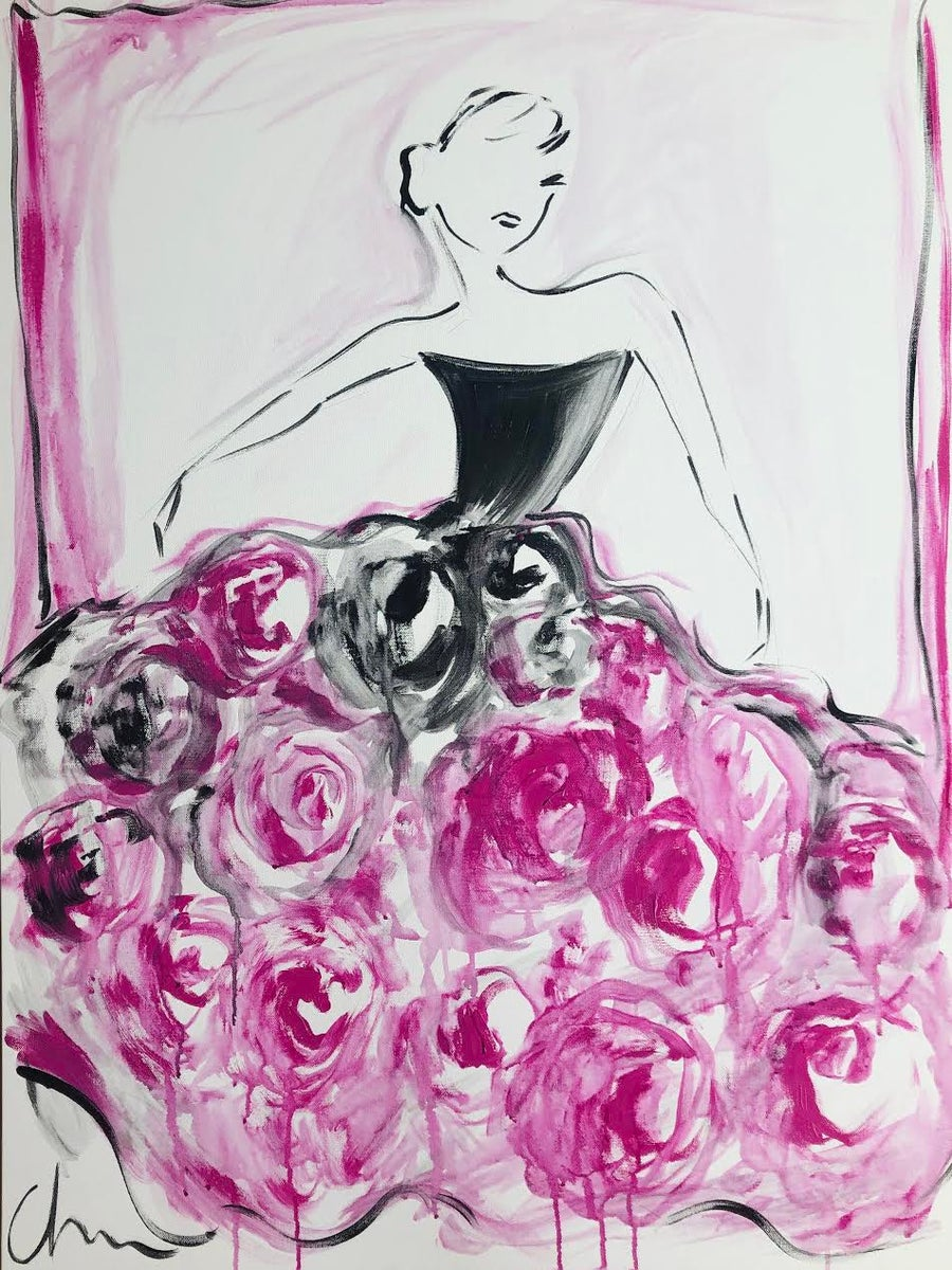 "Image of ""Large Black Rose Ball Gown"" - Original Painting"