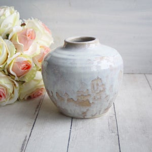 Image of Rustic White and Ocher Ceramic Vase, Handcrafted Flower Vase, Made in USA