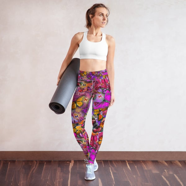 Image of Pink Pollinator Yoga Butterfly Leggings