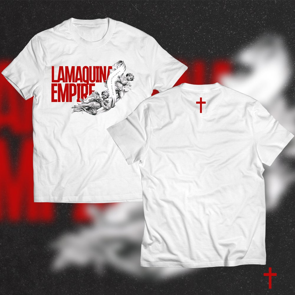 """Image of Limited Edition """"LaMaquina Angel"""" White T-Shirt"""