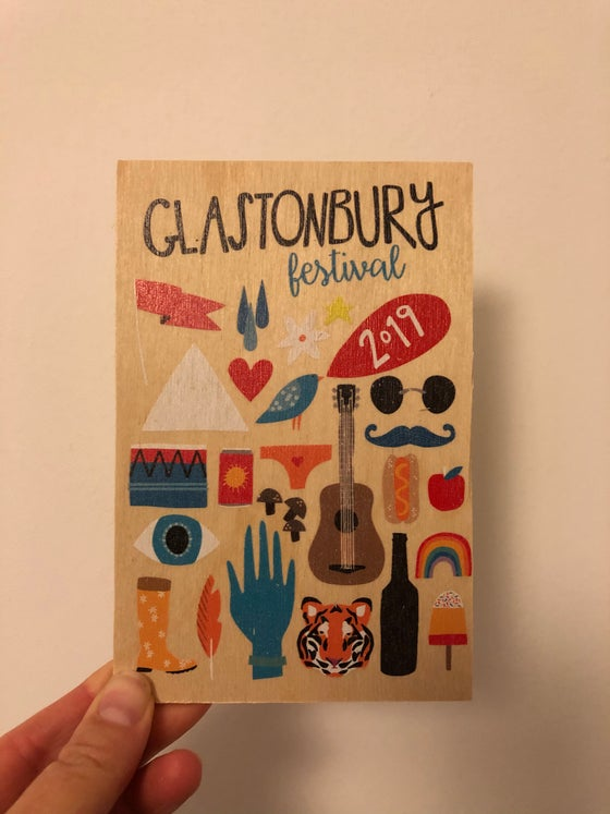 Image of Glastonbury Festival 2019 Limited Edition Wooden Postcard
