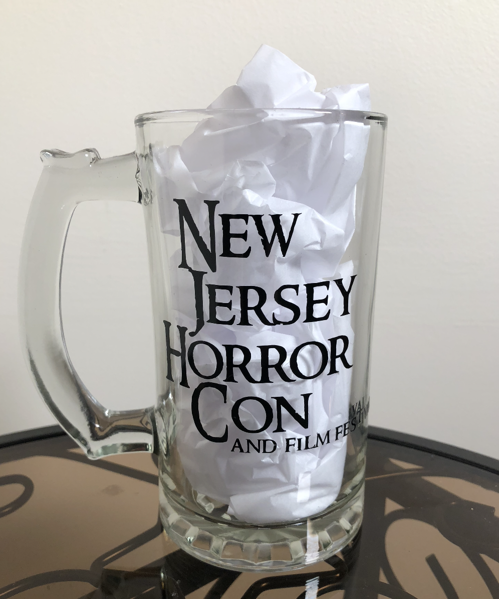 """New Jersey Horror Con"" logo Black  14 Oz. Glass Mug"