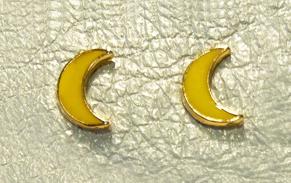 Image of Vintage Yellow Moon Stud Earrings
