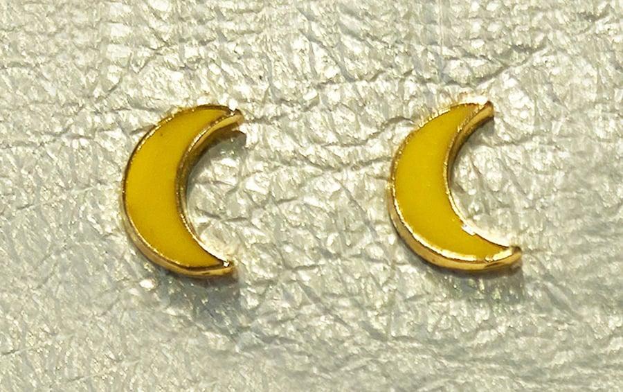 Image of Vintage Yellow Moon Stud Earrings