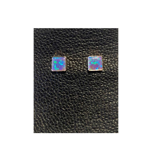 Image of Silver STUD EARRINGS with Opal