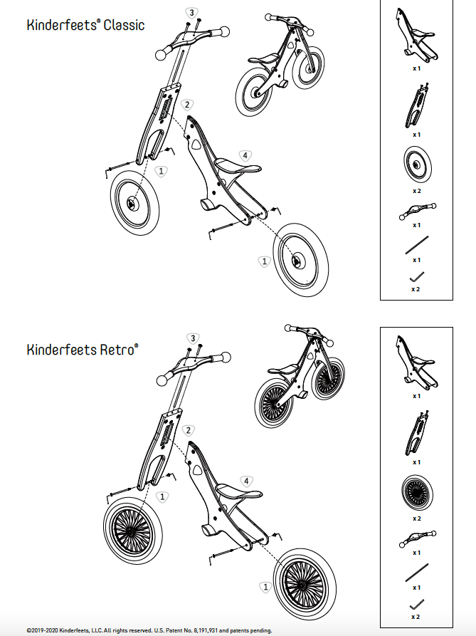 Image of Instruction Manual for the Kinderfeets Balance Bike